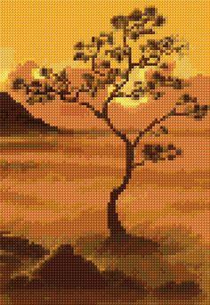 Amber Tree Free Cross Stitch Pattern