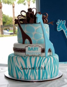 Wild Safari Blue Baby Shower Cake - by mycakeswithlove @ CakesDecor.com - cake decorating website