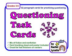 Questioning Task Cards: 32 Multiple Choice Story Cards, both  literature and informational text. $