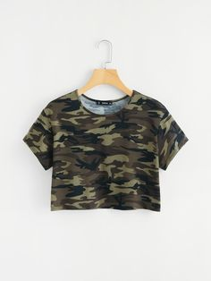 SheIn offers Camo Print Crop Tee & more to fit . SheIn offers Camo Print Crop Tee & more to fit your fashionable needs. Source by lorexia Girls Fashion Clothes, Teen Fashion Outfits, Mode Outfits, Outfits For Teens, Girl Outfits, Ootd Fashion, Shirts For Teens, Fashion Black, Crop Tops For Tweens