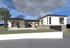 Maison contemporaine de plain pied de type 43 chambres - terrasseS ...