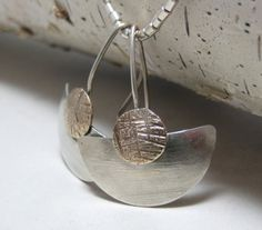 Brushed Sterling Silver Fan Earrings Mixed by stoneandsterling