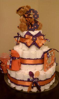 Clemson girl diaper cake