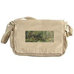 12x15-10 Nature canvas messenger bag Idyllic Mountain Creek Crystal Water Forest Pastoral Rural Landscape canvas beach bag Teal Fern Green Marigold