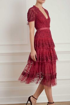 a90e521a665c Layered Lace Dress in Heather from Needle   Thread