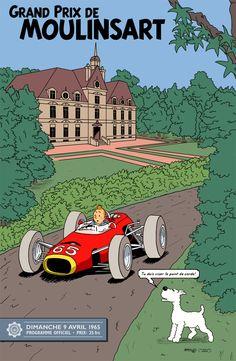 Moulinsart Grand Prix France Tin Tin Snowy auto race art poster print SKU3994
