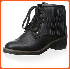 House of Harlow 1960 Women's Cutler Lace Up Ankle Boot with Fringes, Black, 9.5 M US - Boots for women (*Amazon Partner-Link)