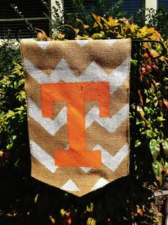 Tennessee Vols Burlap Garden Flag Orange with by ModernRusticGirl