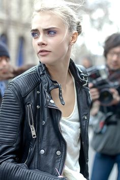 go the moto. Cara #offduty in Paris. #CaraDelevingne
