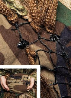 How to Make a Ghillie Suit in 4 Steps 1) Add net 2) Ready burlap/rope 3) Knot burlap to net