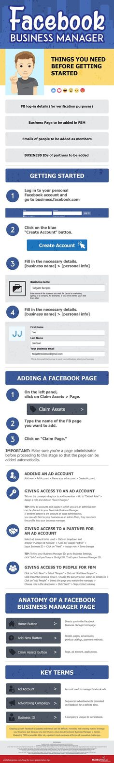 A Step-by-Step Guide to Facebook Business Manager - infographic...  Figure out more by visiting the photo  Learn more at http://webtipsforyou.com/biz/how-to-laser-target-the-rich-and-wealthy-buyers-on-facebook/