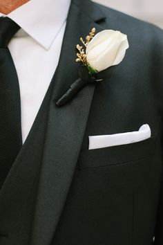 White Rose and Gold Accent Groom's Boutonniere