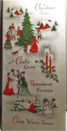 "Victorian Christmas Carolers Onion Skin Greeting Card 1950's 7"" tall 3"" high   eBay"