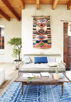 amazing blue tribal bohemian rug with wood beams and wall weaving Home Design Decor, House Design, Interior Design, Tribal Room, Wood Beams, Home Decor Inspiration, Home Remodeling, New Homes, Room Decor