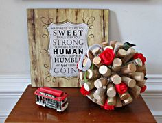 Wine Cork Kissing Ball Red Roses and Green Ivy by LizzieJoeDesigns