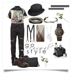 """how to wearing casual style for men"" by tarsinderia ❤ liked on Polyvore featuring Prada, Yves Saint Laurent, Variations, Alexander McQueen, Dee Berkley, Longines, Trafalgar, Scala, Samsung and Beauty Box"
