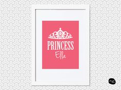 PRINCESS WALL ART ~ Personalised - Home Decor Print - Tiara Design by HannahDeanDesigns on Etsy