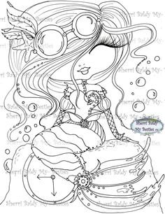 """Sherri Baldy  My Besties TM Stamps """"Steamppunk Mermaid"""" img077 Digi Stamp - My Besties Shop"""