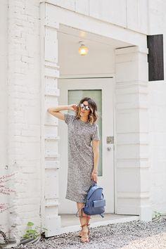 grey marled midi dress, backpack