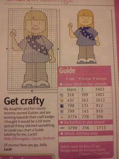 Cross Stitching, Cross Stitch Embroidery, Embroidery Patterns, Cross Stitch Patterns, Brownies Girl Guides, Brownie Guides, Girl Scout Leader, Girl Scouts, Scout Mom