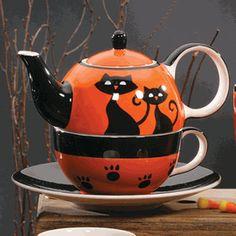 Halloween Black Kitty Tea Set