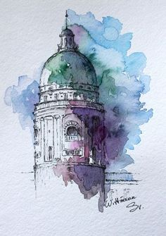 Watercolour by Svetlana Wittmann Watercolor city architecture art. Croquis Architecture, Architecture Drawing Art, Watercolor Architecture, City Architecture, Architecture Sketchbook, Victorian Architecture, Japanese Architecture, Architecture Portfolio, Architecture Artists
