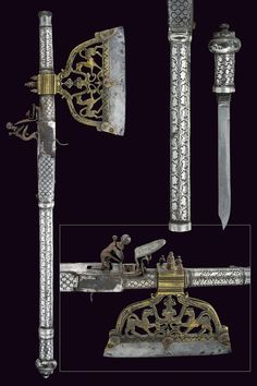 A rare shooting axe      provenance:India Moghul  dating: late 18th Century