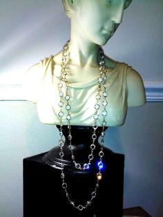 "Swarovski crystal necklace open back bezel ROPE LARIAT Gold Tone 55"" INCH signed…"