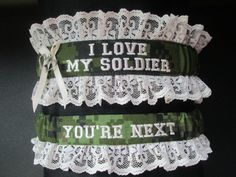 Handcrafted Canadian Military Garter set with I by CreativeGarters, $34.00 but marine instead