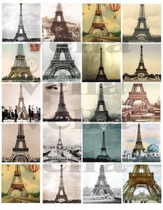 vintage eiffel tower paris france french postcard art 2 INCH squares digital download collage sheet