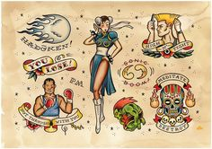 'Game Over' - Videogame Tattoo Flash by Phillip Marsden, via Behance