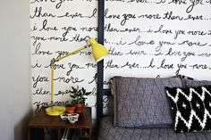 Industrial Task Table Lamp from west elm —hand-painted bedroom wall by A Beautiful Mess