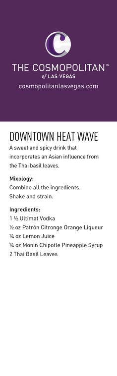 Here's a sneak peek at one of the drinks @The Cosmopolitan of Las Vegas will be serving at the Los Angeles Food & Wine Festival this weekend. Want to join 'em? Follow us and repin anything from our boards with #LAFW for a chance to win tickets.