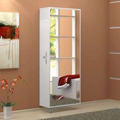 Sapateira com Espelho Itú 1 Porta e 16 Prateleiras Branco Politorno 790.00