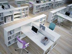RECTANGULAR OFFICE DESK WITH SHELVES FRAMEWORK 2.0 COLLECTION BY FANTONI | DESIGN CENTRO RICERCHE FANTONI