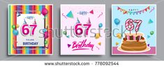 Vector Sets of 67 Years Birthday invitation, greeting card Design, with confetti and balloons, birthday cake, Colorful Vector template Elements for your Birthday Celebration Party.