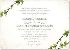 Graceful Greenery - Signature White Textured Wedding Invitations - simplyput by Ashley Woodman - Ivy - Green : Front