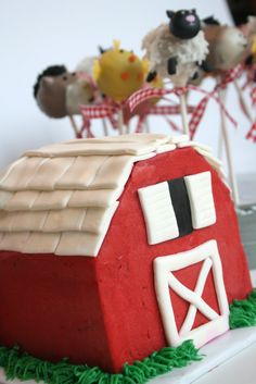 Barn Cake and Farm Animal Cake Pops