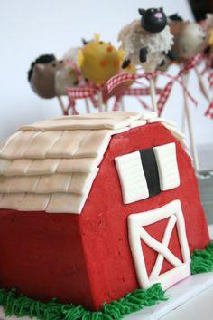 Barn Cake and Farm Animal Cake Pops