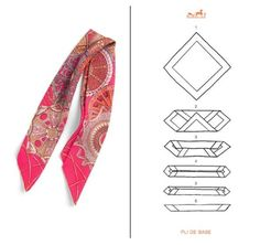 Different Ways to Knot a Hermes Scarf How To Fold Scarf, Ways To Wear A Scarf, How To Wear Scarves, Square Scarf How To Wear A, Kendall Jenner, How To Tie Bandana, Faux Col, Head Scarf Tying, Scarf Knots