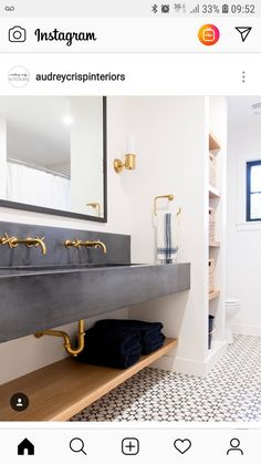So much to love in this bathroom from with this gorgeous concrete sink, brass fixtures and the in stock Atlas II pattern! Brass Bathroom Fixtures, Bathroom Vanity Lighting, Kitchen Fixtures, Bathroom Faucets, Cement Bathroom, Bathroom Flooring, Bathroom Pink, Master Bathroom, Young House Love