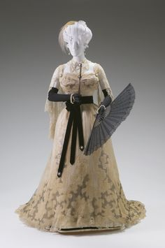 Reception Gown, Charles F. Worth (British, 1825 - 1895) for the House of Worth (1858 - 1956): ca. 1895-1900, French, silk chiffon, silk net, Alencon lace Chantilly lace, silk satin.
