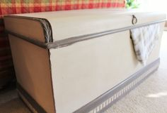 Vintage Refinsihed Cavalier Cedar Chest Antique 1940s Waterfall Style Cream Grey