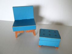 Barbie needs to rest her feet from all that shopping!  Barbie 1962 Dream House Blue Chair With Ottoman Foot Stool Cardboard Furniture