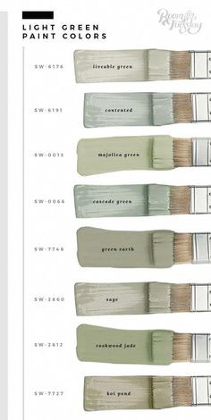 My Favorite Green Paint Colors. My Favorite Green Paint Colors - Room for Tuesday. In honor of St. Patrick's Day this weekend, I'm sharing my favorite green paint colors. Whether you're painting a wall or furniture, save these swatches! Green Room Colors, Green Paint Colors, Interior Paint Colors, Green Rooms, Paint Colors For Home, Bedroom Green, Sage Green Paint, Green Sage, Cottage Paint Colors
