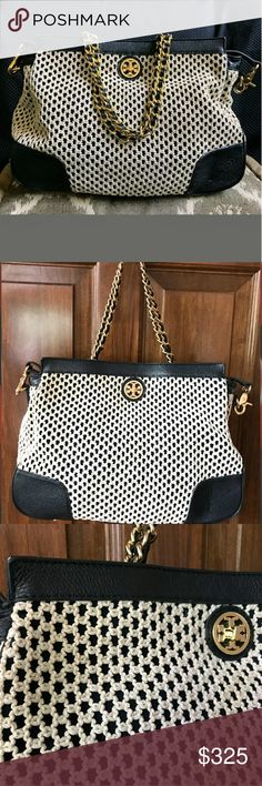 TORY BURCH!! RARE NWOT navy /cream CROCHET BAG!! TORY BURCH!! NWOT!! RARE navy blue & cream crochet & leather bag!! EXCELLENT!!! Gold chain & leather strap!! ABSOLUTELY GORGEOUS!!☁💟💟☁💟💟☁ 💟💟💟💟💟💟💟BAG WILL NOT SHIP UNTIL  💟💟8/14/17 & more pics soon & measurements!!! NEW WITHOUT TAGS!! ☁☁💟💟💟☁☁ ☁☁☁💟☁☁☁ Tory Burch Bags Shoulder Bags