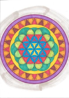 A mandala painted with kurecolor and Copic markers