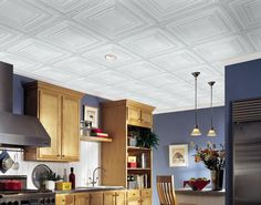 Metallaire Large Panel is a Metallic Ceilings by Armstrong. Large Panel offers a large-scale visual for bigger rooms, as well as delivers the look of a coffered ceiling to any traditional or contemporary space Ceiling Tiles, Ceiling Decor, Ceiling Lights, Simple Ceiling Design, Metal Tins, Bathroom Ceilings, Basement, Tin Ceilings, Metallic