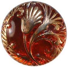 "1 1/8"" Red Glass Art Nouveau Button w/ Gold Flowers (28mm)"