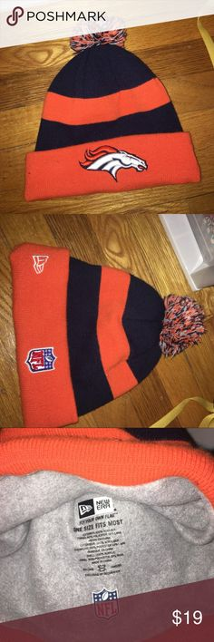DENVER BRONCOS AUTHENTIC BEANIE new era NFL pom pom beanie New Era Accessories Hats